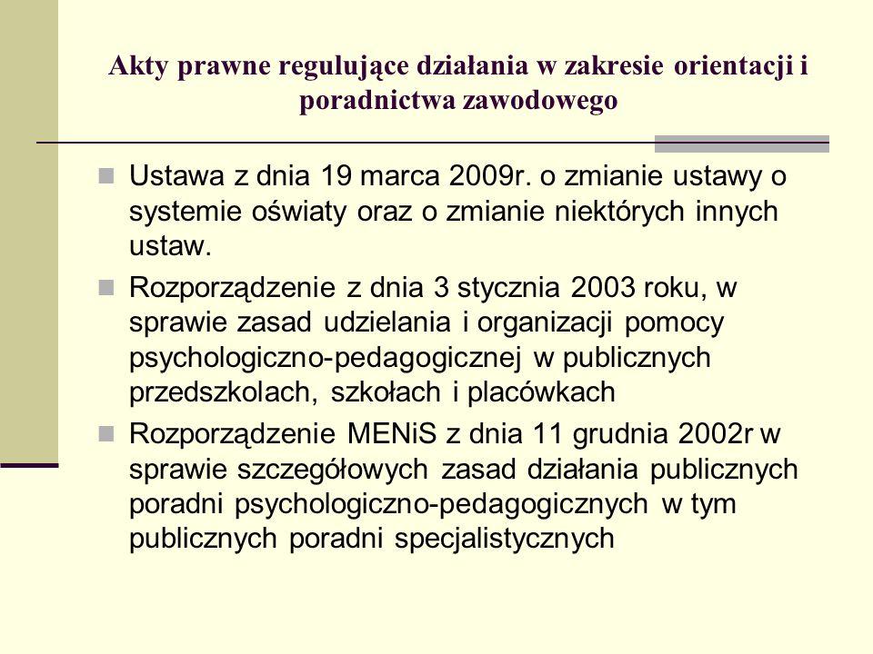 Akty prawne regulujące działania w zakresie orientacji i poradnictwa zawodowego