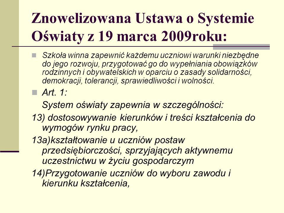 Znowelizowana Ustawa o Systemie Oświaty z 19 marca 2009roku: