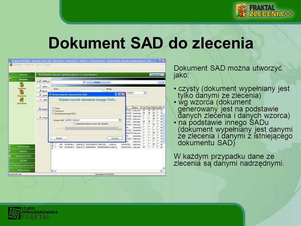 Dokument SAD do zlecenia