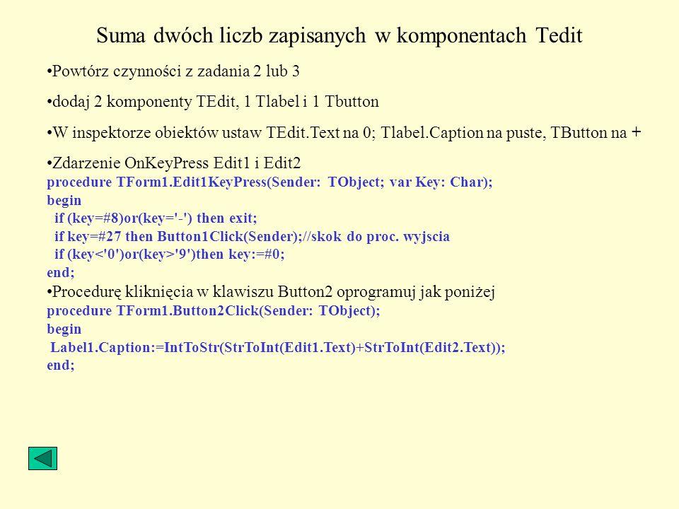Suma dwóch liczb zapisanych w komponentach Tedit