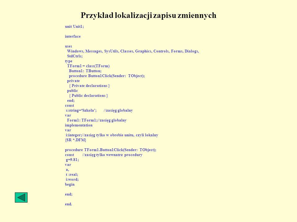 Przykład lokalizacji zapisu zmiennych
