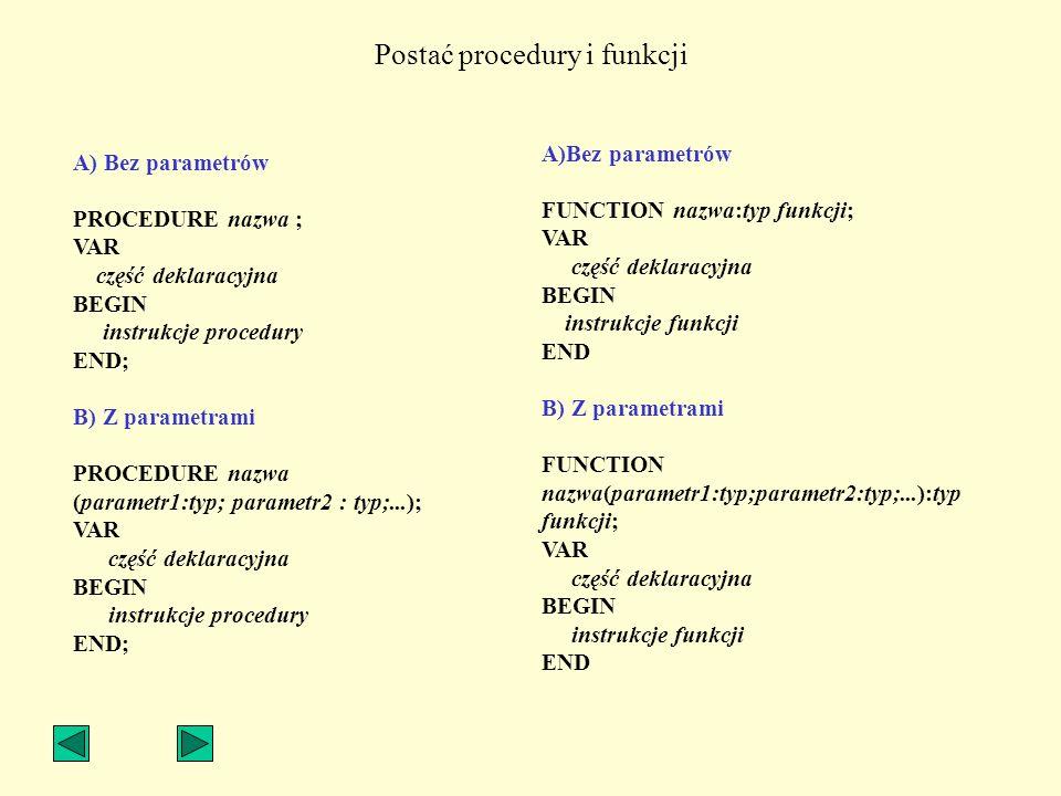 Postać procedury i funkcji