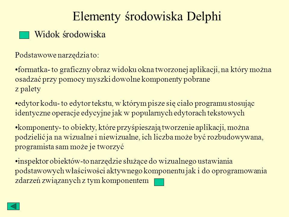 Elementy środowiska Delphi