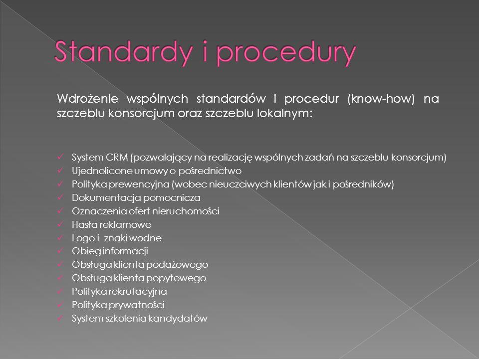 Standardy i proceduryWdrożenie wspólnych standardów i procedur (know-how) na szczeblu konsorcjum oraz szczeblu lokalnym: