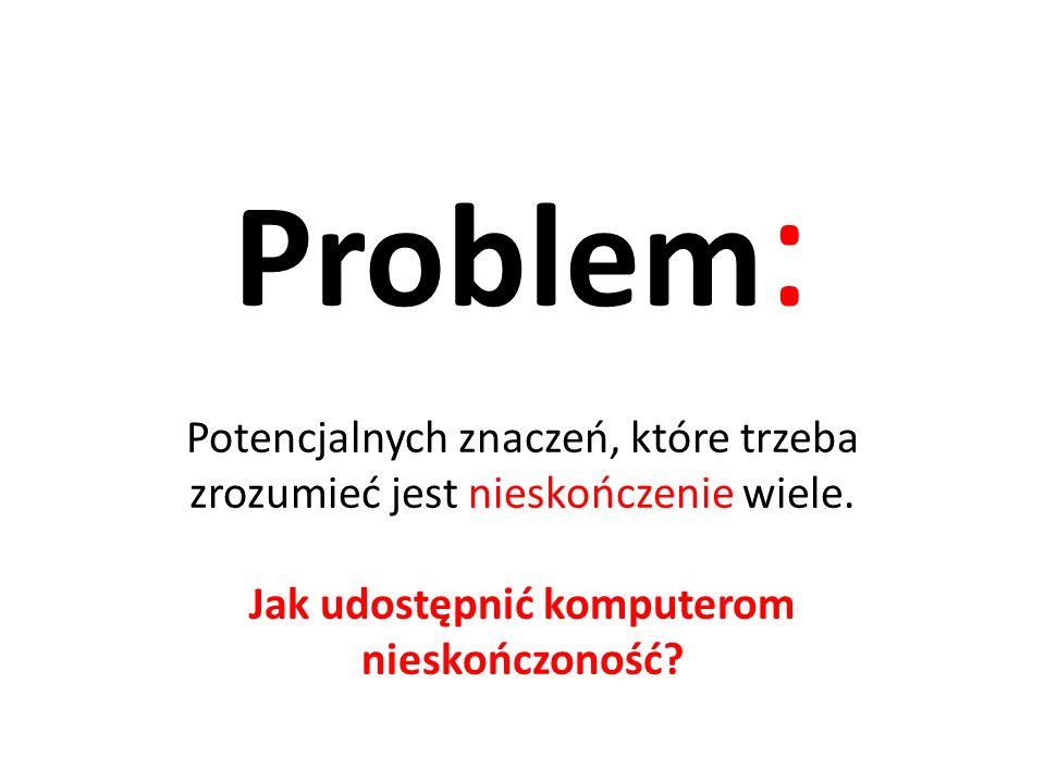 Problem: Potencjalnych znaczeń, które trzeba zrozumieć jest nieskończenie wiele.