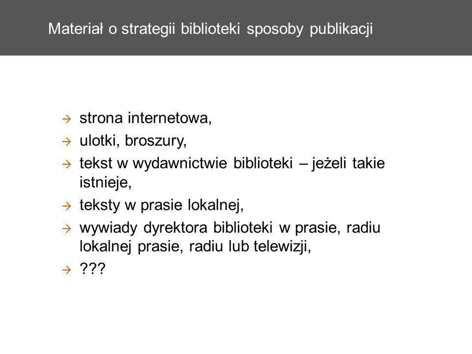 Materiał o strategii biblioteki sposoby publikacji