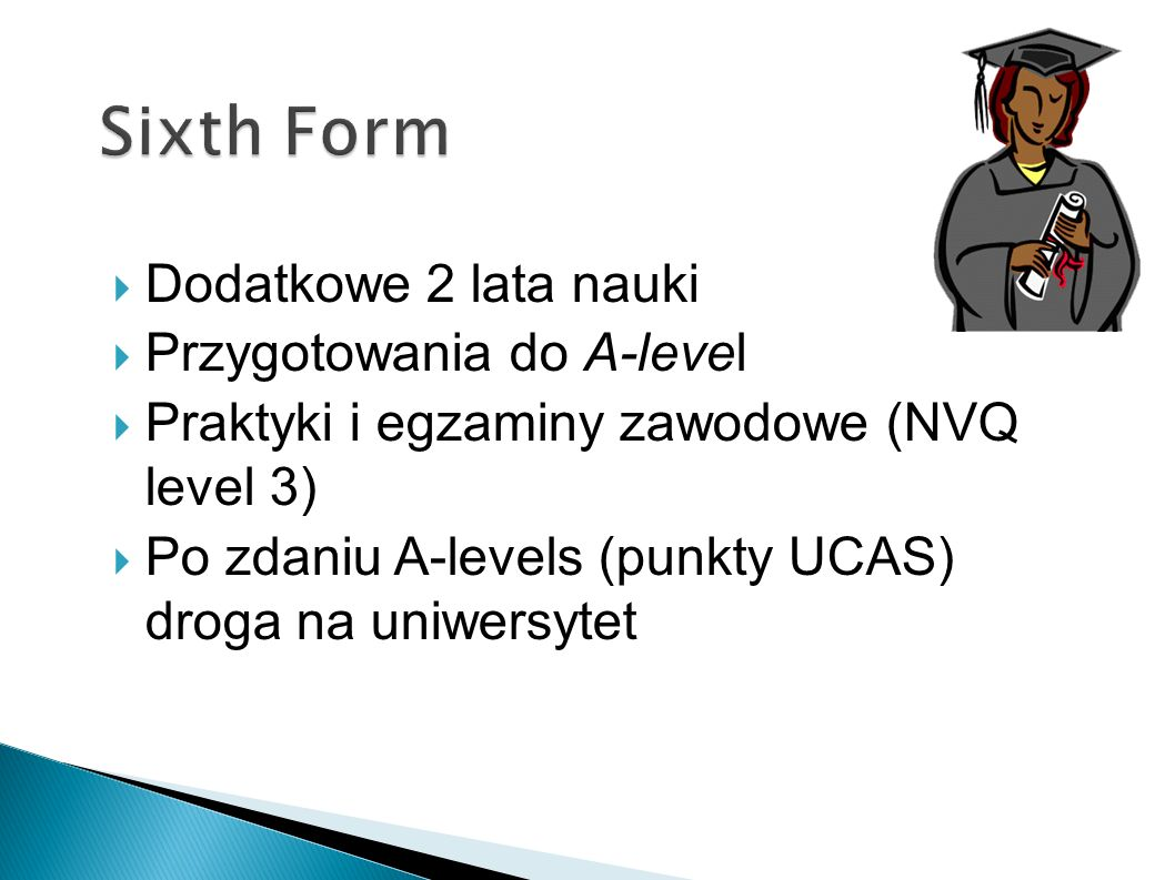 Sixth Form Dodatkowe 2 lata nauki Przygotowania do A-level