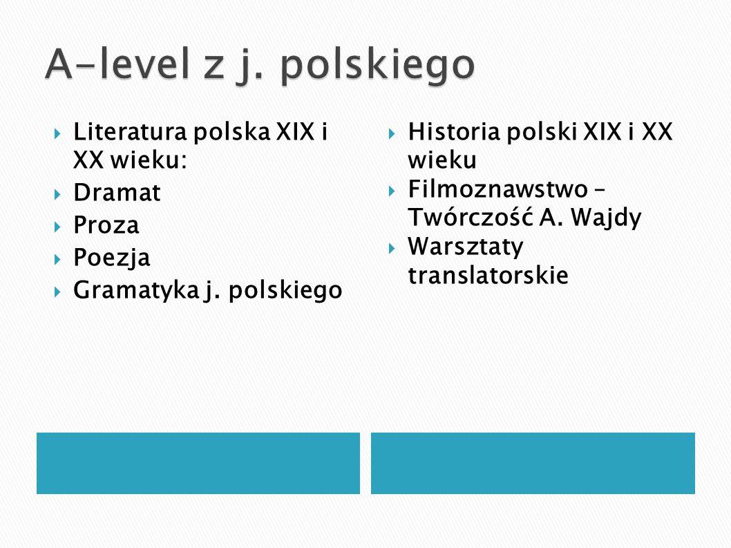A-level z j. polskiego Literatura polska XIX i XX wieku: Dramat Proza