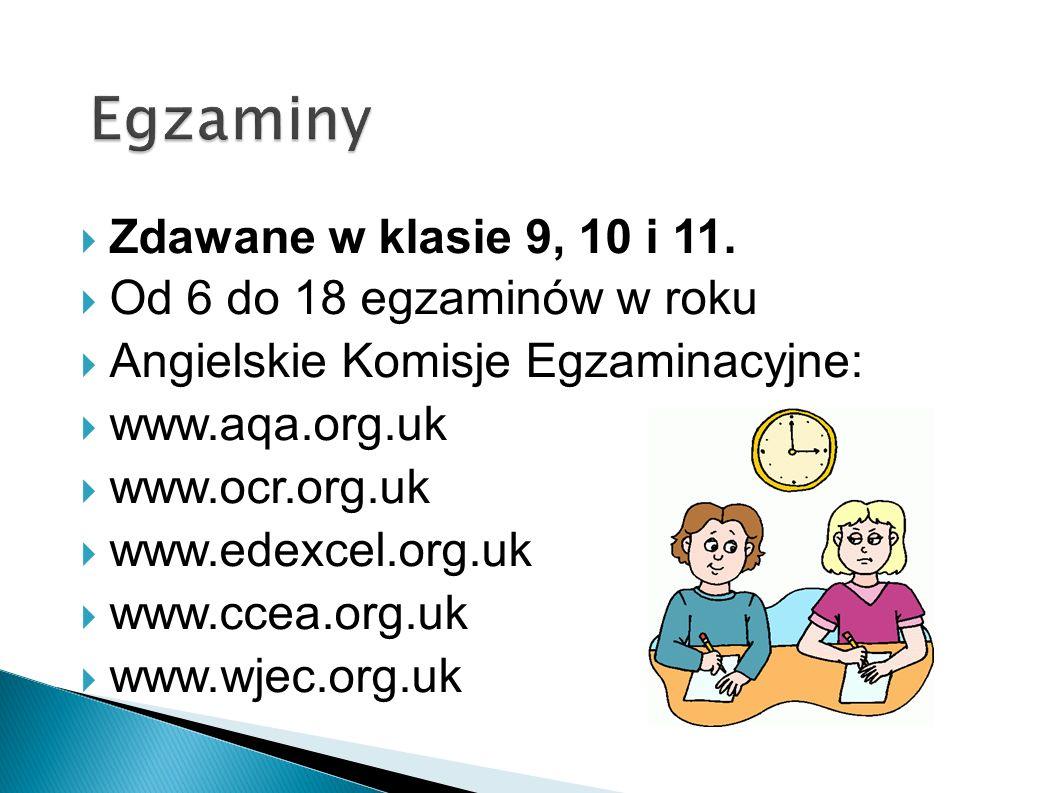 Egzaminy Zdawane w klasie 9, 10 i 11. Od 6 do 18 egzaminów w roku
