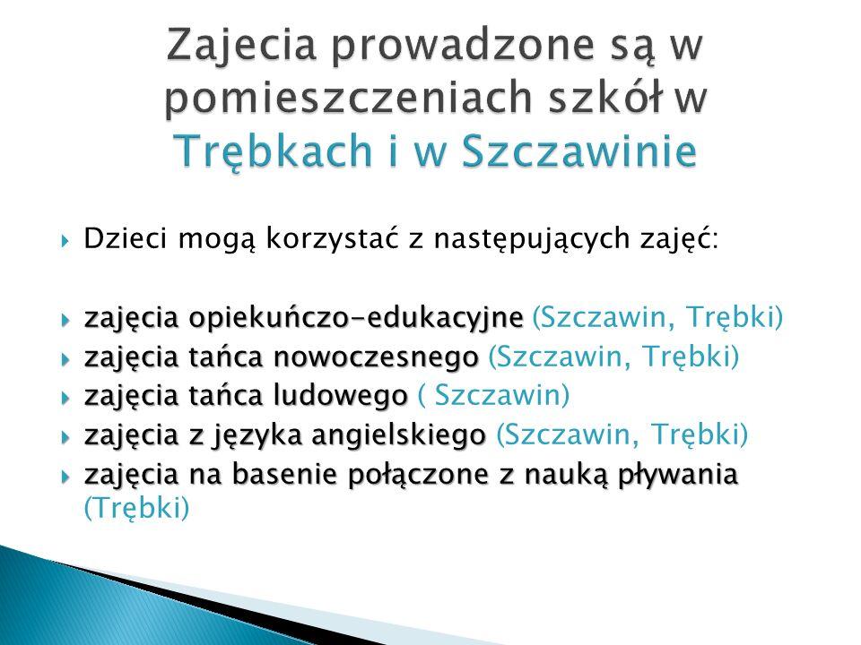 Zajecia prowadzone są w pomieszczeniach szkół w Trębkach i w Szczawinie