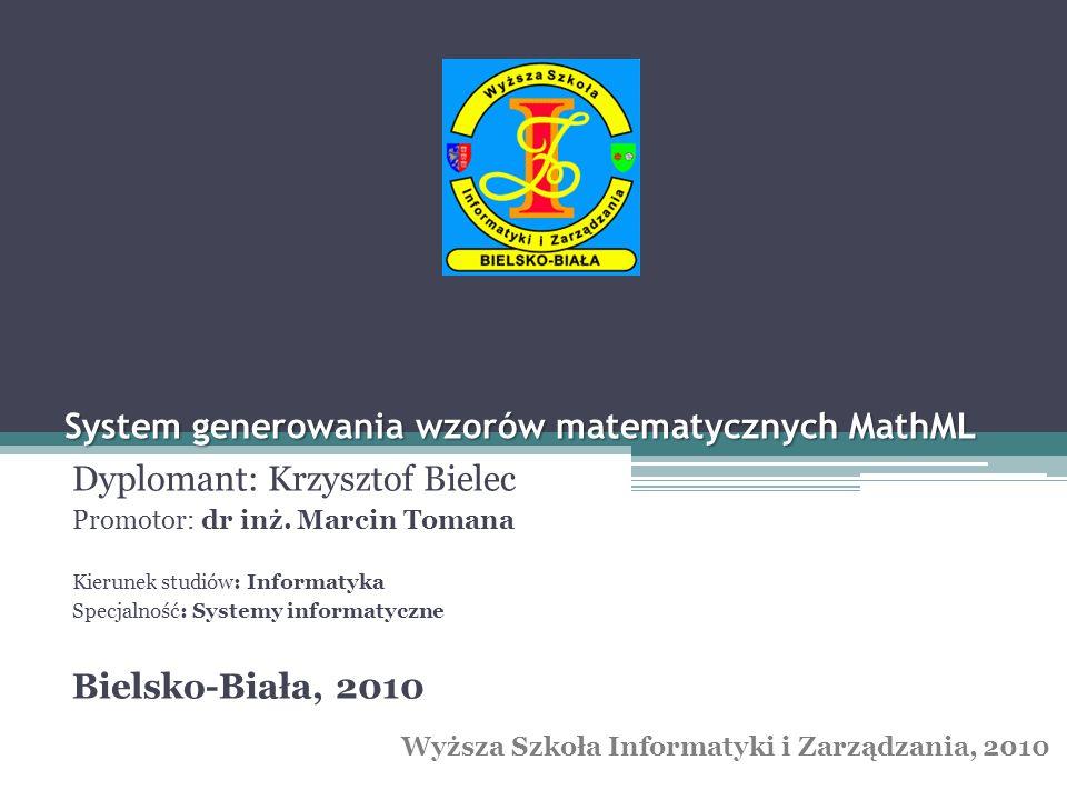 System generowania wzorów matematycznych MathML