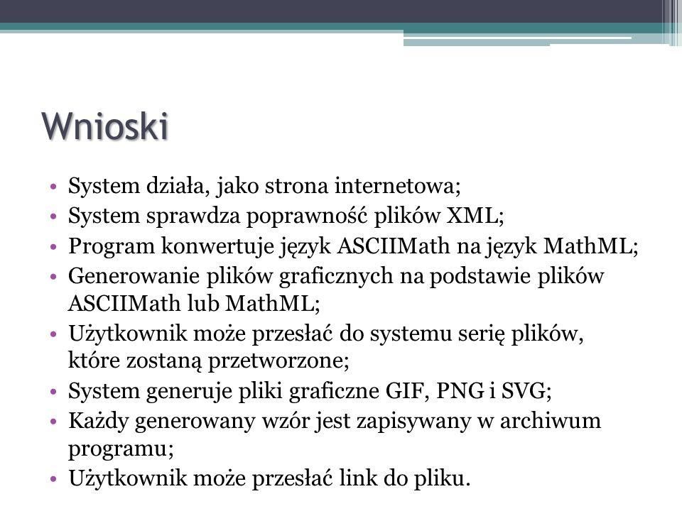 Wnioski System działa, jako strona internetowa;