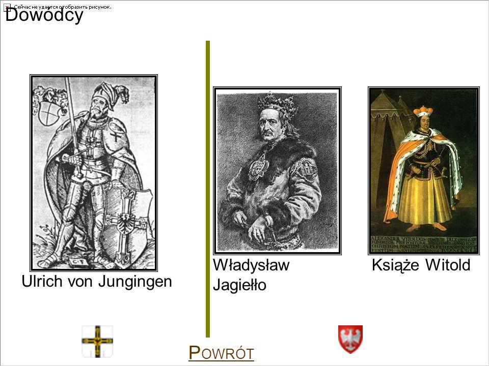 Dowódcy Władysław Jagiełło Książe Witold Ulrich von Jungingen POWRÓT