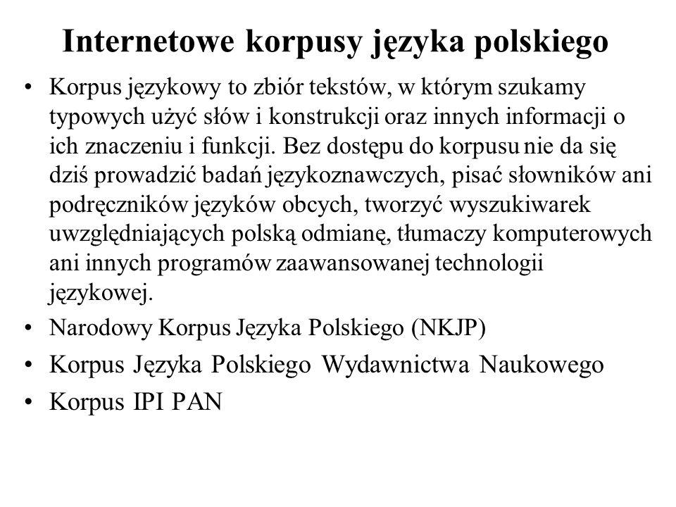 Internetowe korpusy języka polskiego