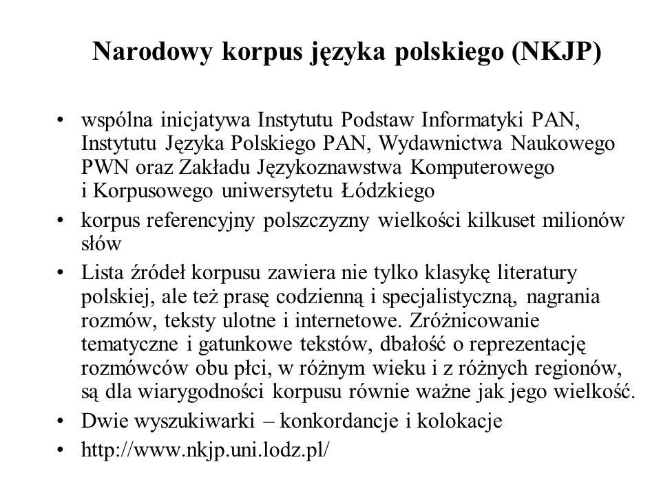 Narodowy korpus języka polskiego (NKJP)