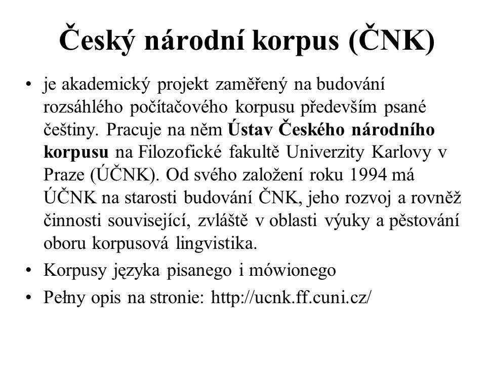Český národní korpus (ČNK)
