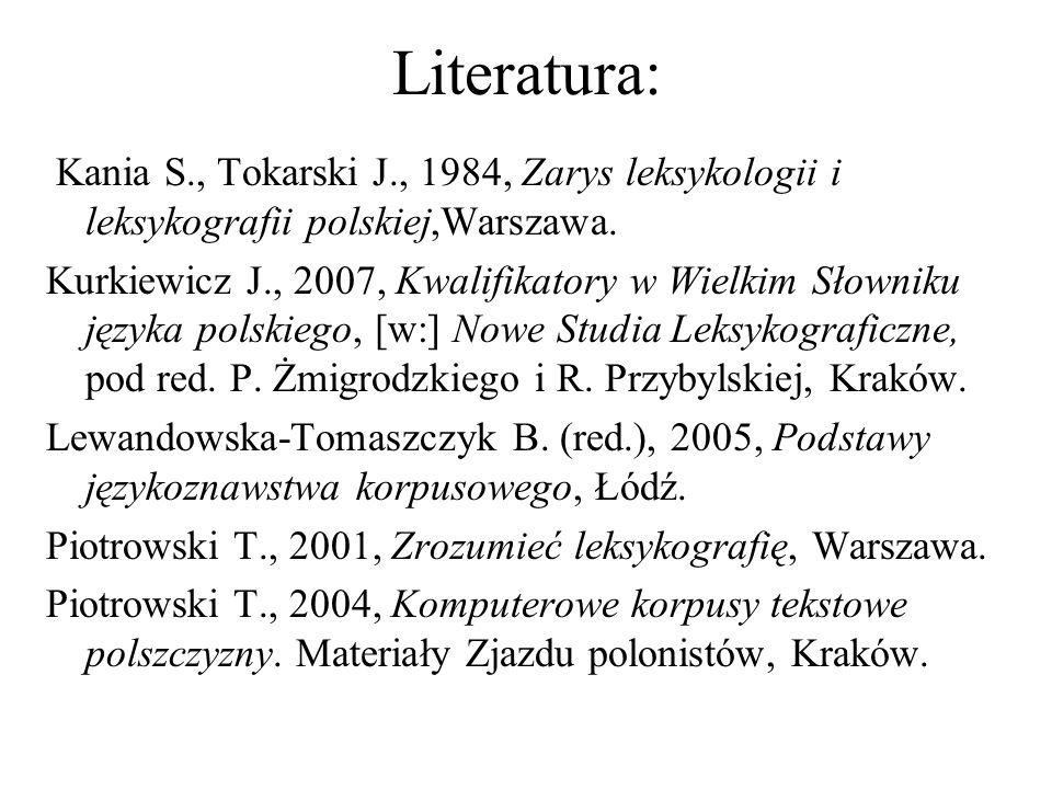 Literatura: Kania S., Tokarski J., 1984, Zarys leksykologii i leksykografii polskiej,Warszawa.