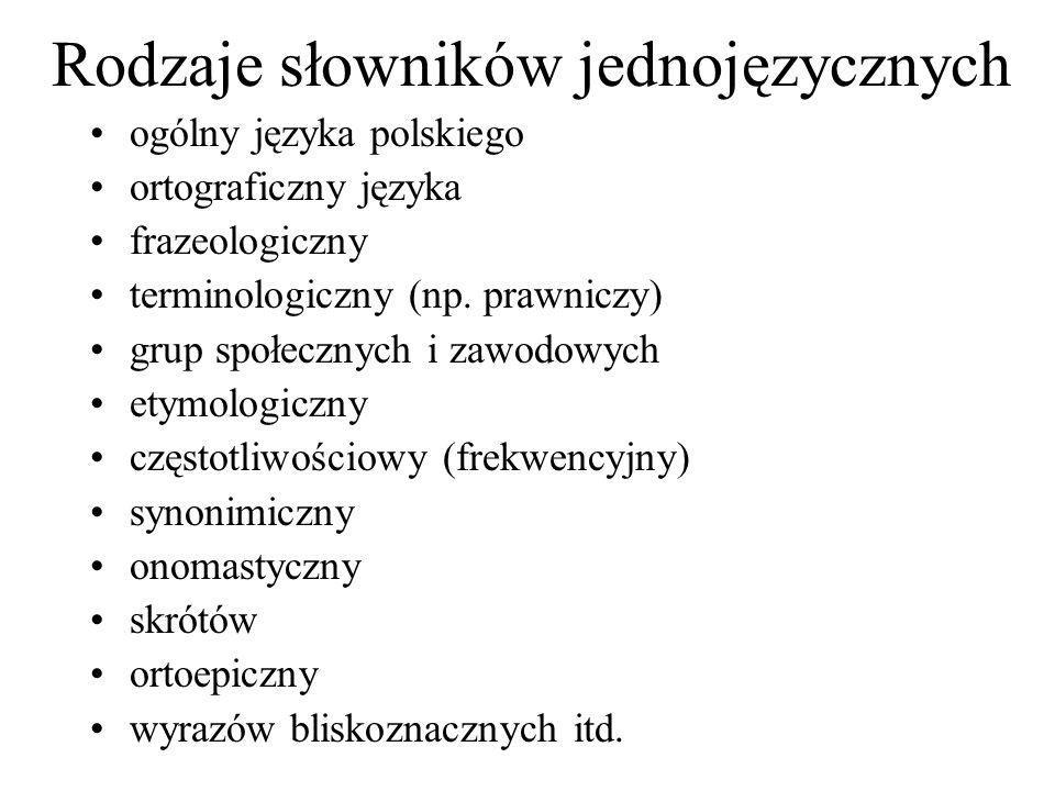 Rodzaje słowników jednojęzycznych