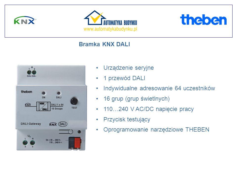 Bramka KNX DALI Urządzenie seryjne. 1 przewód DALI. Indywidualne adresowanie 64 uczestników. 16 grup (grup świetlnych)