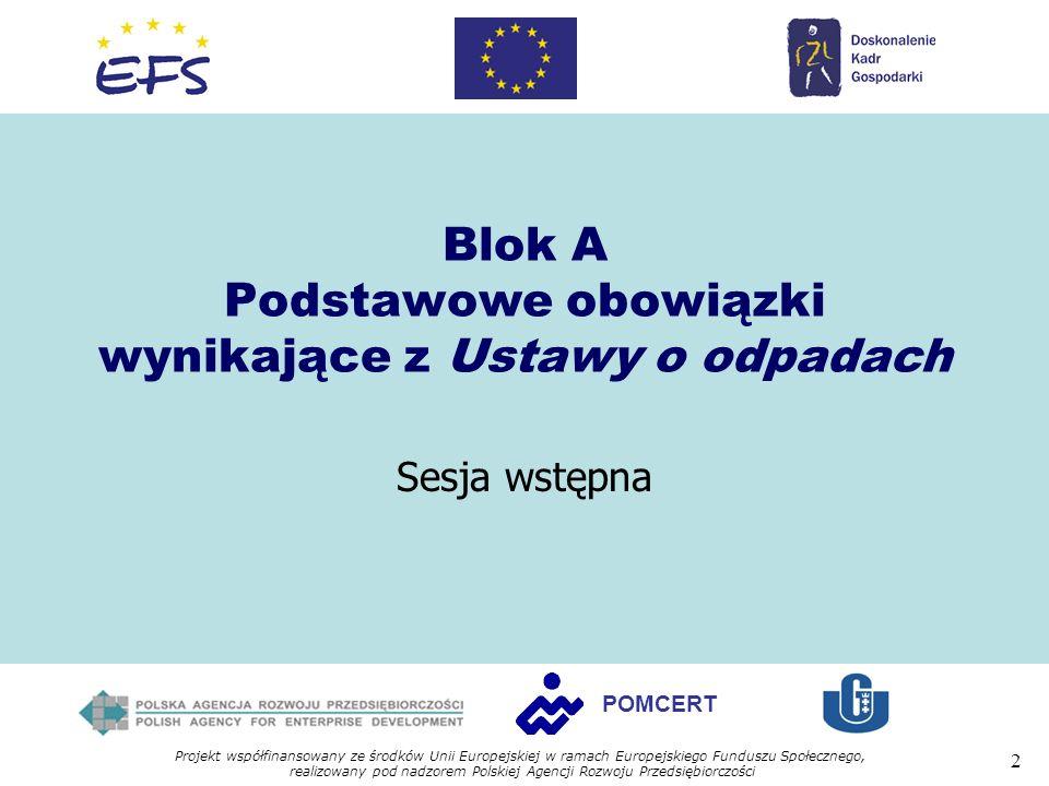 Blok A Podstawowe obowiązki wynikające z Ustawy o odpadach
