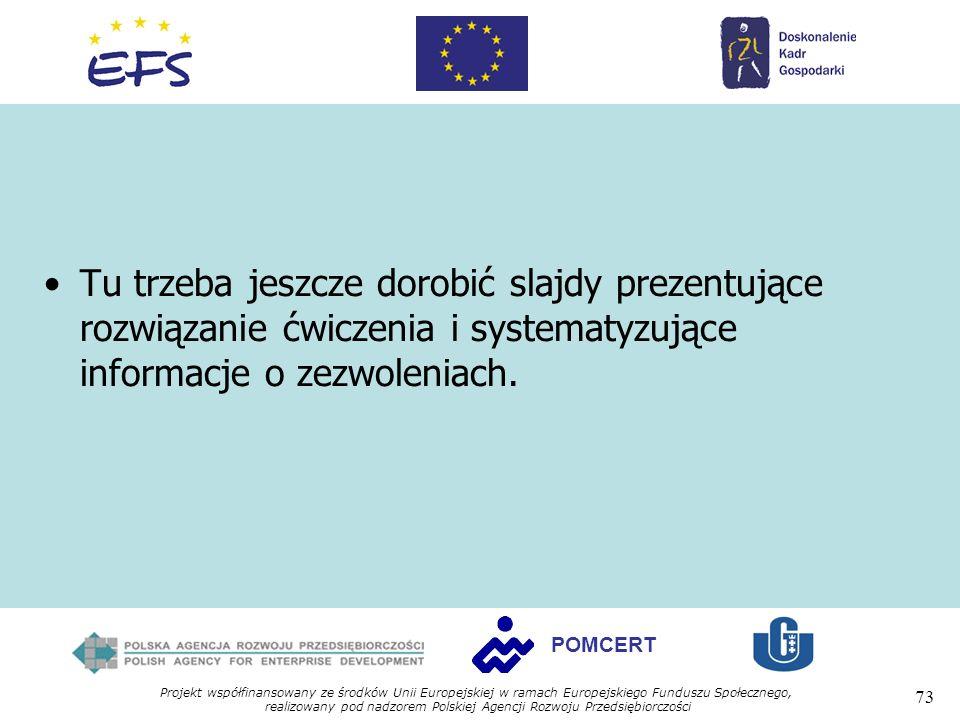 Tu trzeba jeszcze dorobić slajdy prezentujące rozwiązanie ćwiczenia i systematyzujące informacje o zezwoleniach.