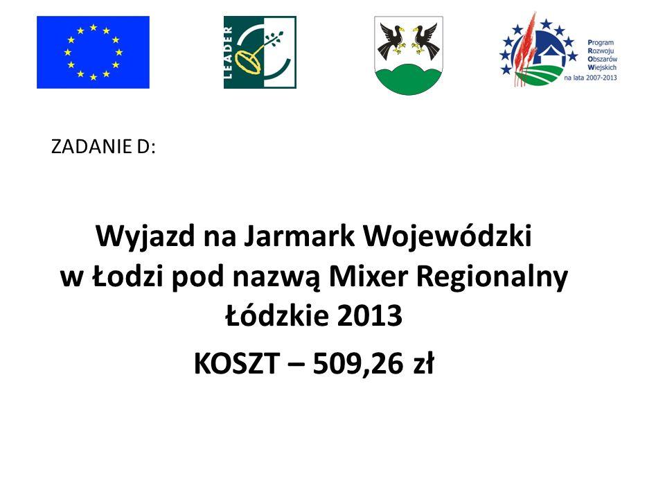 ZADANIE D: Wyjazd na Jarmark Wojewódzki w Łodzi pod nazwą Mixer Regionalny Łódzkie 2013.