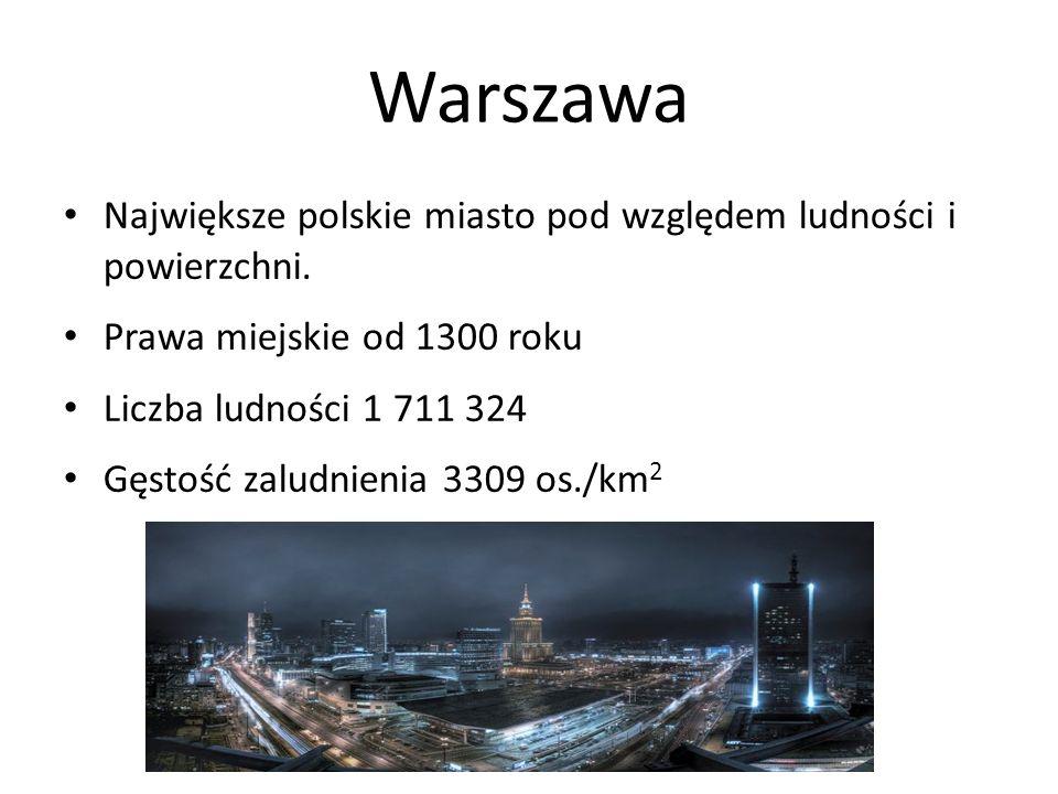 Warszawa Największe polskie miasto pod względem ludności i powierzchni. Prawa miejskie od 1300 roku.