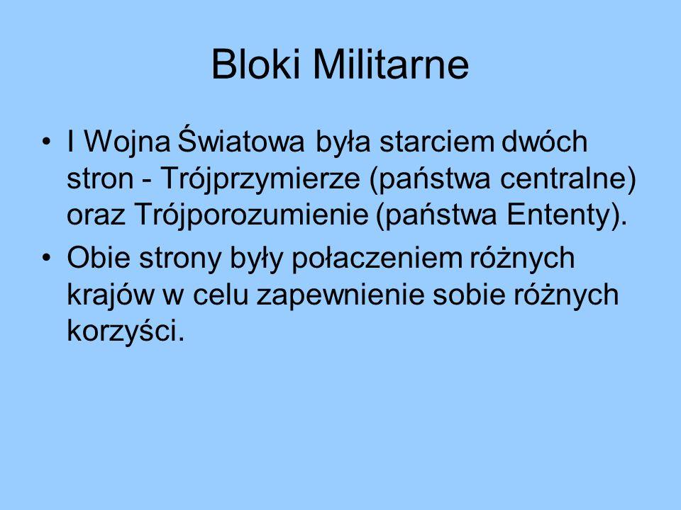 Bloki Militarne I Wojna Światowa była starciem dwóch stron - Trójprzymierze (państwa centralne) oraz Trójporozumienie (państwa Ententy).