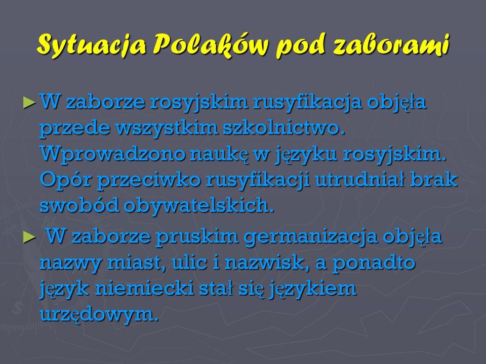 Sytuacja Polaków pod zaborami