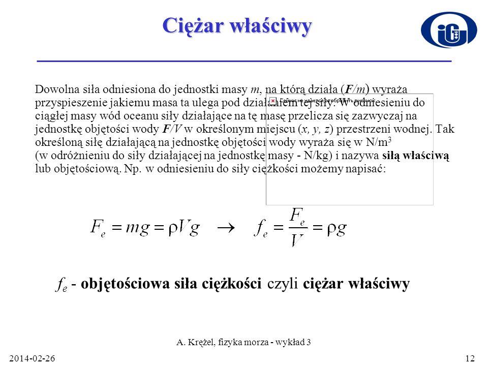 A. Krężel, fizyka morza - wykład 3