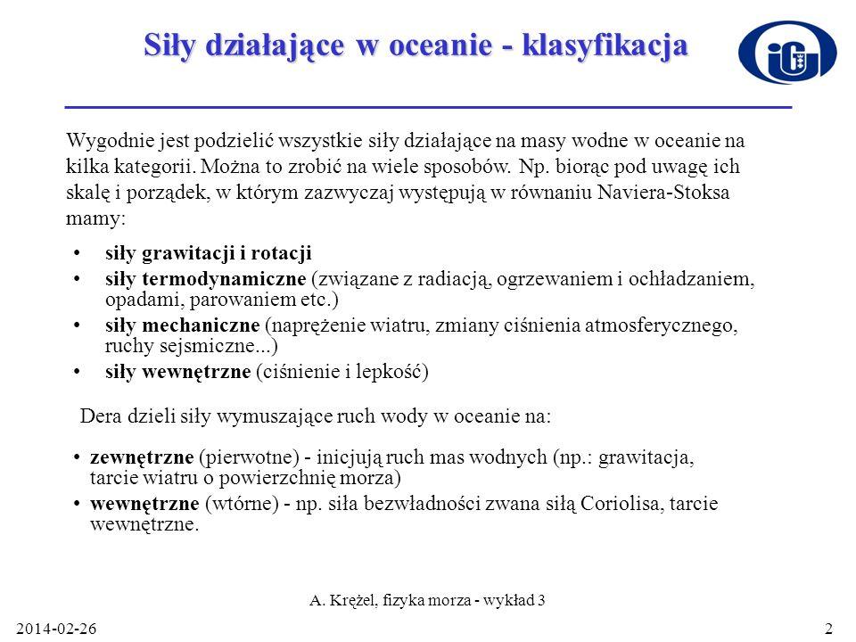 Siły działające w oceanie - klasyfikacja