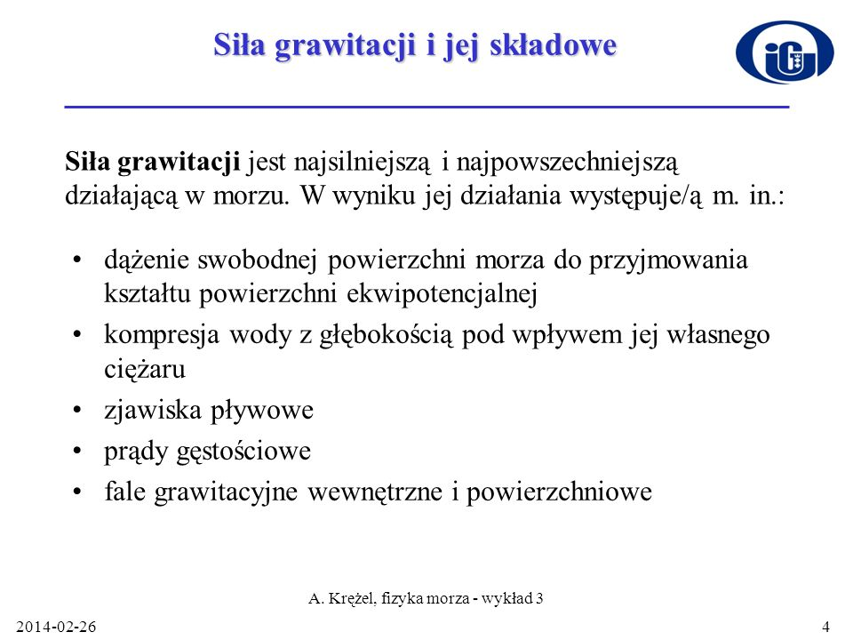 Siła grawitacji i jej składowe