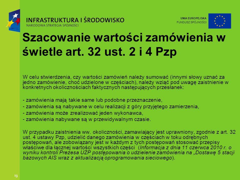 Szacowanie wartości zamówienia w świetle art. 32 ust. 2 i 4 Pzp