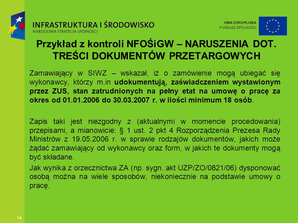 Przykład z kontroli NFOŚiGW – NARUSZENIA DOT
