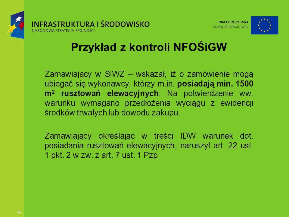 Przykład z kontroli NFOŚiGW