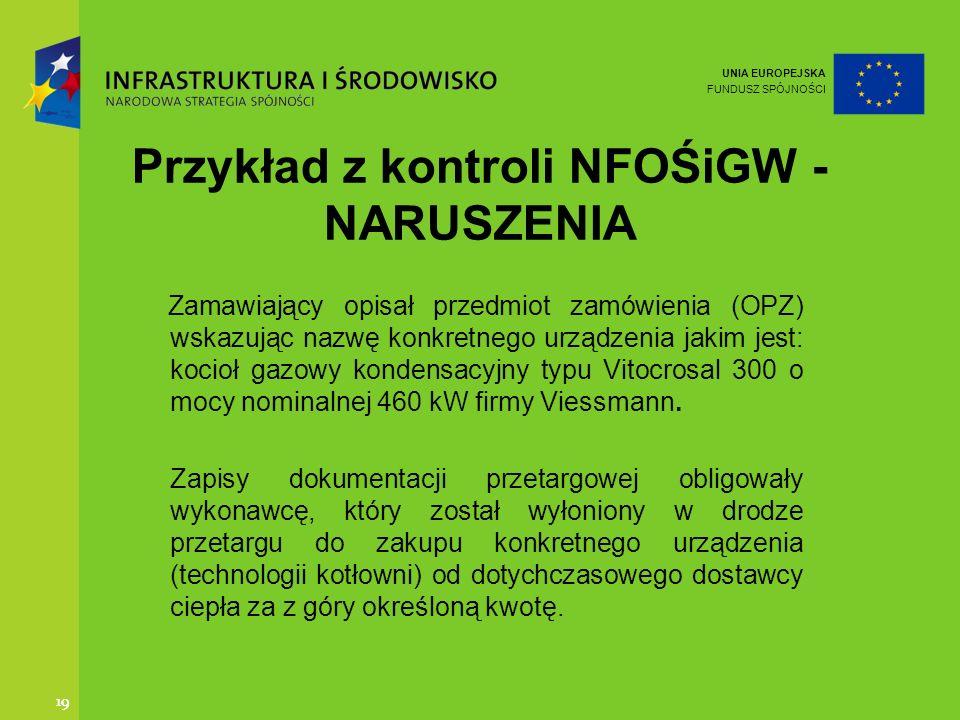 Przykład z kontroli NFOŚiGW -NARUSZENIA