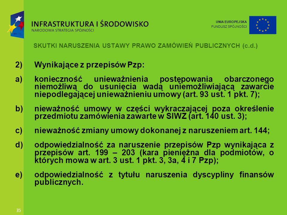 SKUTKI NARUSZENIA USTAWY PRAWO ZAMÓWIEŃ PUBLICZNYCH (c.d.)