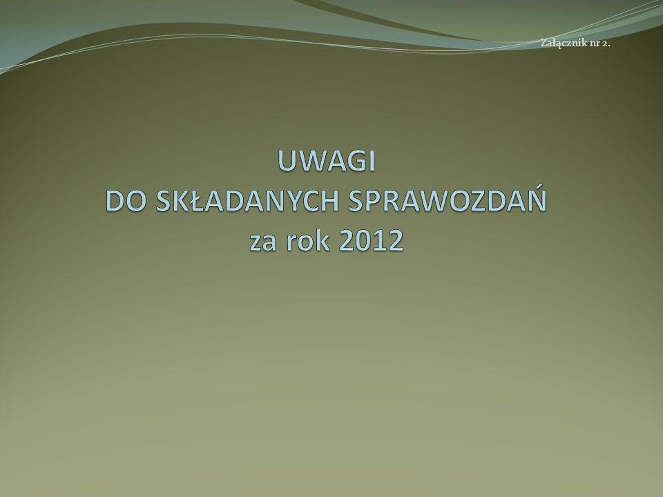 UWAGI DO SKŁADANYCH SPRAWOZDAŃ za rok 2012