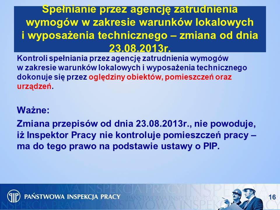 Spełnianie przez agencję zatrudnienia wymogów w zakresie warunków lokalowych i wyposażenia technicznego – zmiana od dnia 23.08.2013r.