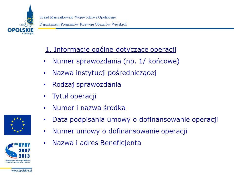 Numer sprawozdania (np. 1/ końcowe) Nazwa instytucji pośredniczącej