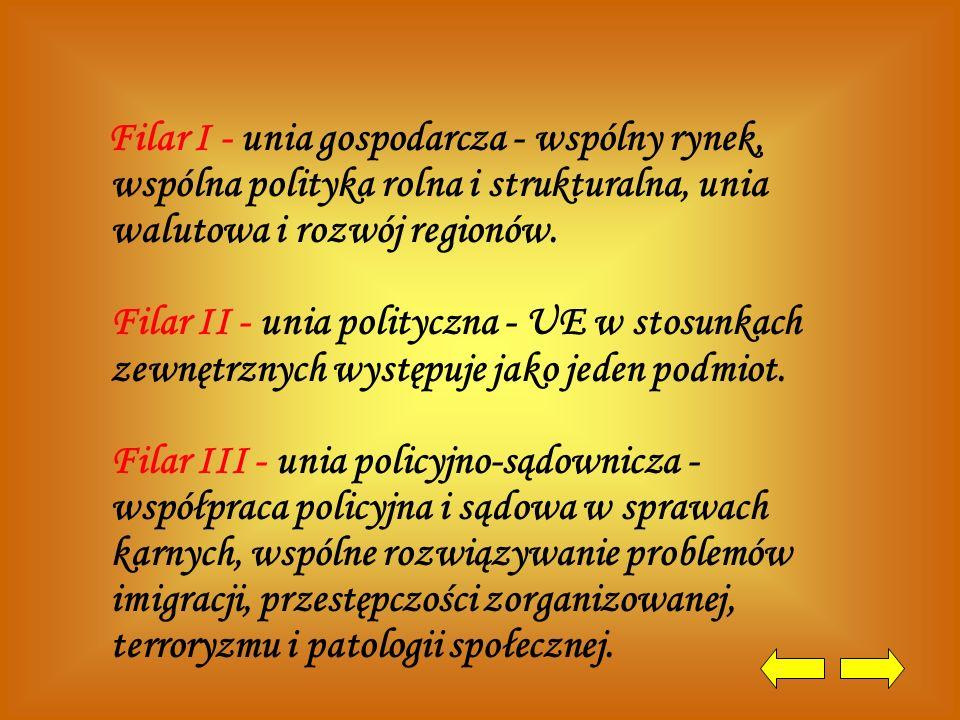 Filar I - unia gospodarcza - wspólny rynek, wspólna polityka rolna i strukturalna, unia walutowa i rozwój regionów. Filar II - unia polityczna - UE w stosunkach zewnętrznych występuje jako jeden podmiot. Filar III - unia policyjno-sądownicza - współpraca policyjna i sądowa w sprawach karnych, wspólne rozwiązywanie problemów imigracji, przestępczości zorganizowanej, terroryzmu i patologii społecznej.