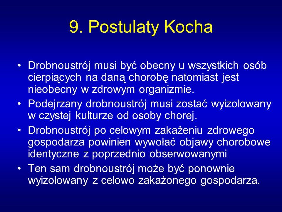 9. Postulaty Kocha Drobnoustrój musi być obecny u wszystkich osób cierpiących na daną chorobę natomiast jest nieobecny w zdrowym organizmie.