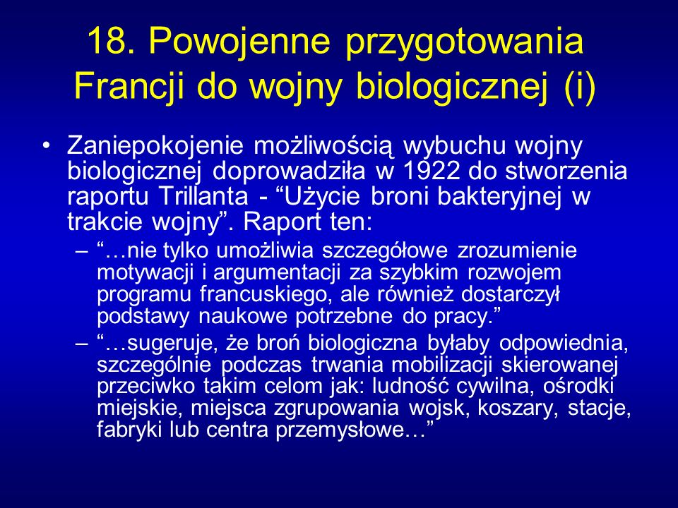 18. Powojenne przygotowania Francji do wojny biologicznej (i)