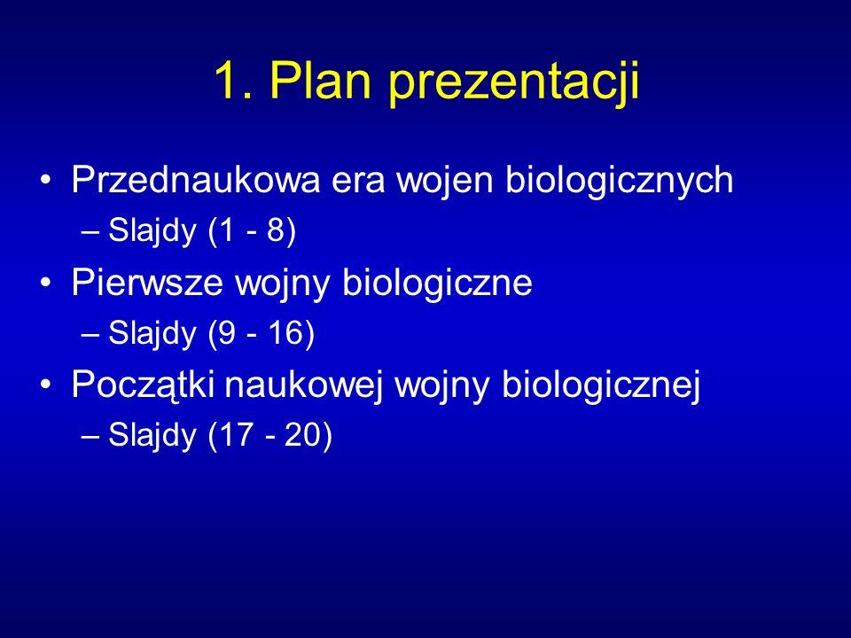 1. Plan prezentacji Przednaukowa era wojen biologicznych