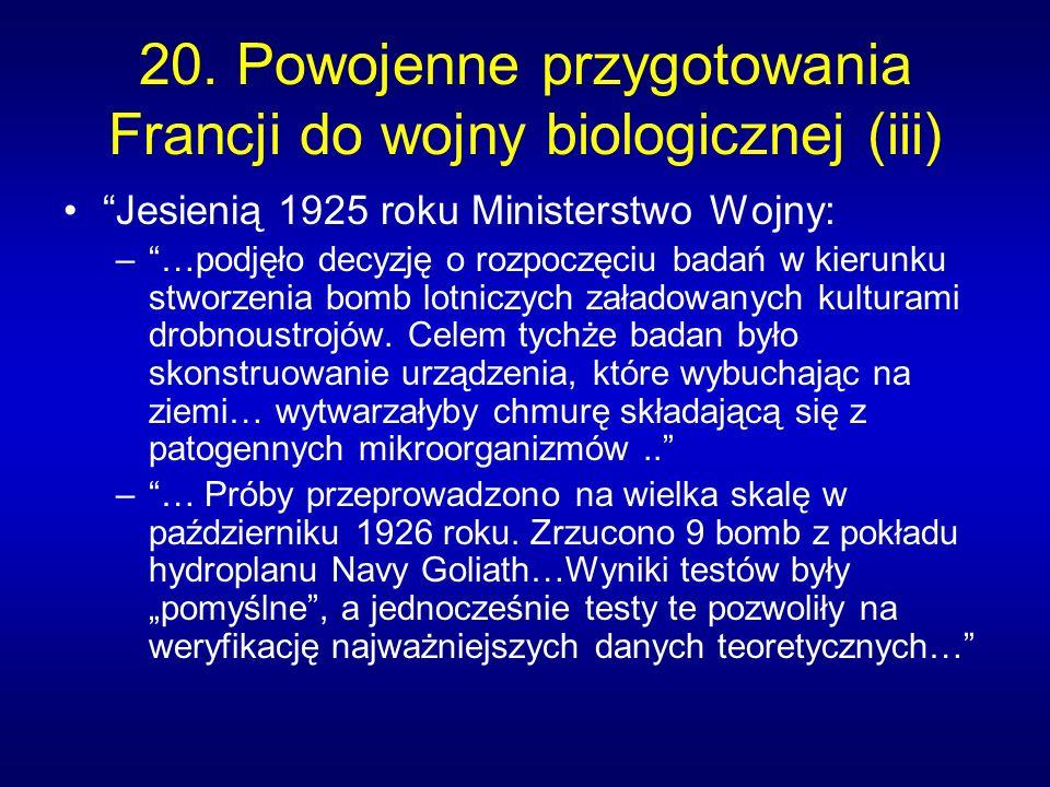 20. Powojenne przygotowania Francji do wojny biologicznej (iii)
