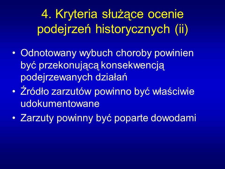 4. Kryteria służące ocenie podejrzeń historycznych (ii)