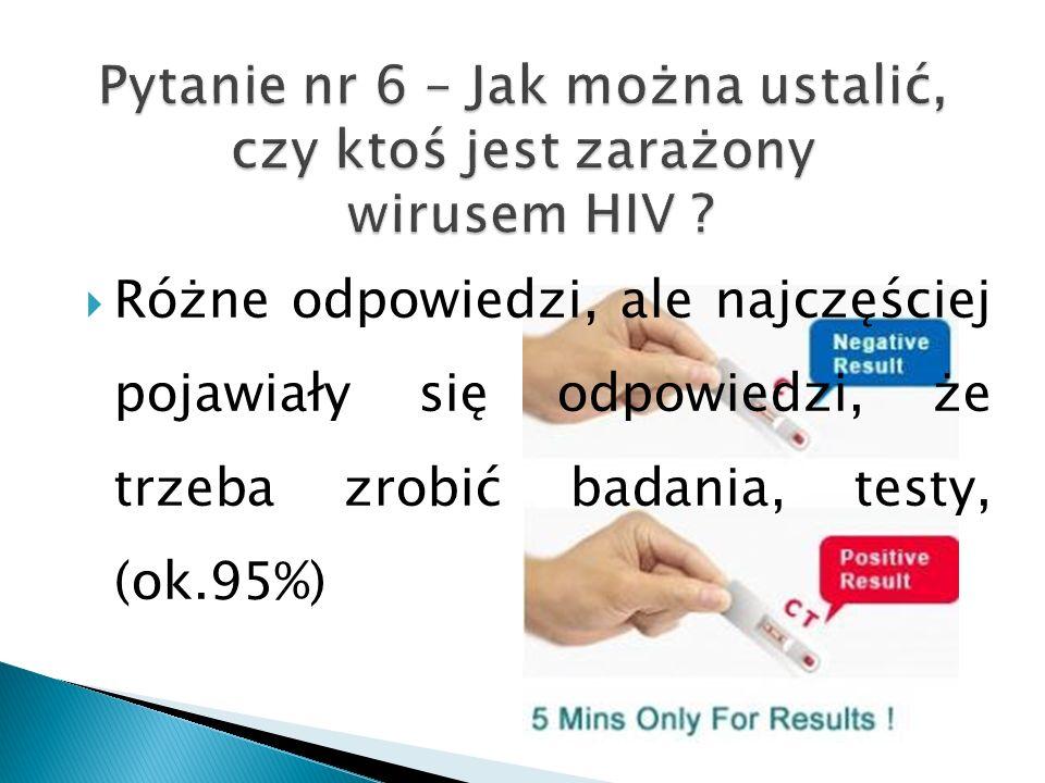 Pytanie nr 6 – Jak można ustalić, czy ktoś jest zarażony wirusem HIV