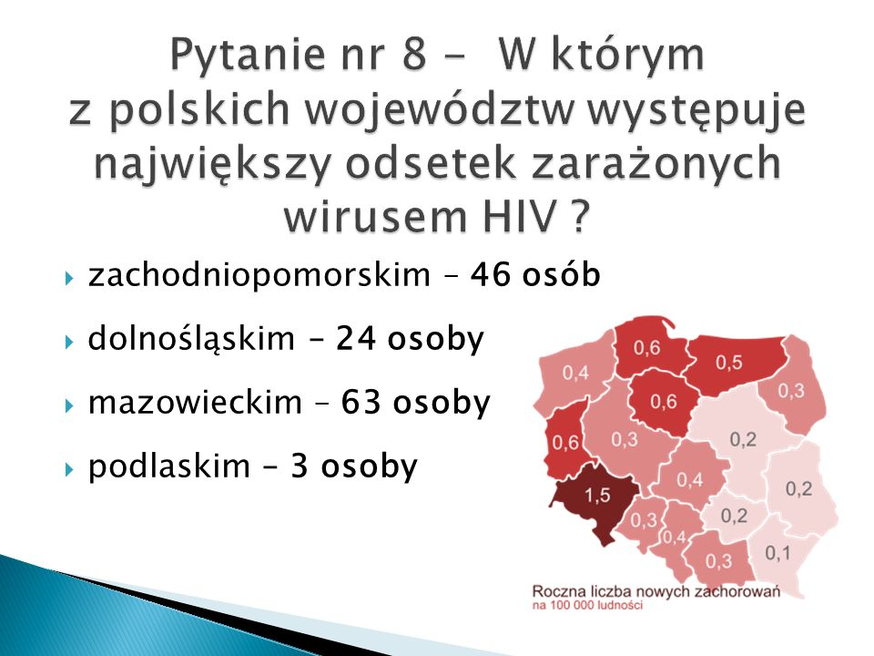Pytanie nr 8 - W którym z polskich województw występuje największy odsetek zarażonych wirusem HIV