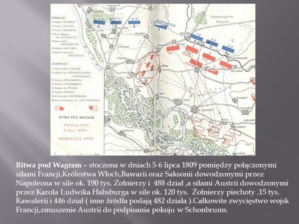 Bitwa pod Wagram – stoczona w dniach 5-6 lipca 1809 pomiędzy połączonymi siłami Francji,Królestwa Włoch,Bawarii oraz Saksonii dowodzonymi przez Napoleona w sile ok.