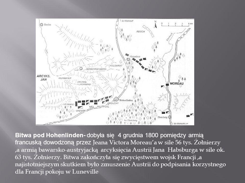 Bitwa pod Hohenlinden- dobyła się 4 grudnia 1800 pomiędzy armią francuską dowodzoną przez Jeana Victora Moreau'a w sile 56 tys.